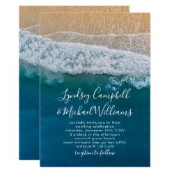 Elegant Beach Blue Ocean Wedding Card