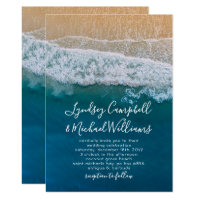 Elegant Beach Blue Ocean Wedding Invitation