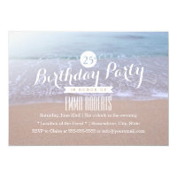 Elegant Beach Morning 25th Birthday Party Card