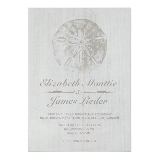 Elegant Beach Sand Dollar Wedding Invitations