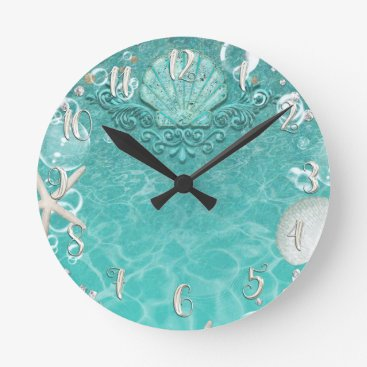 Beach Themed Elegant Beach Sea Shell & Bubbles Customized Round Clock