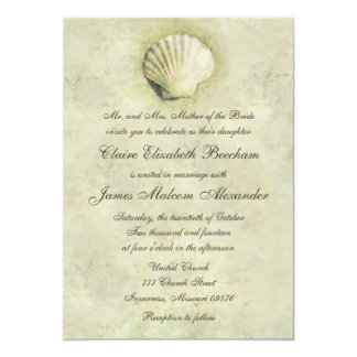 Elegant Beach Seashell 5x7 Wedding Invitation