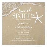 Elegant Beach & Starfish Sweet Sixteen Card