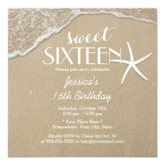 Elegant Beach & Starfish Sweet Sixteen Card