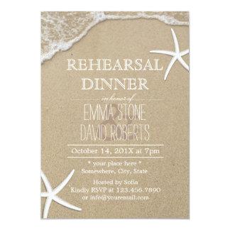 Elegant Beach Starfish Wedding Rehearsal Dinner Card