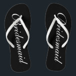 "Elegant beach wedding flip flops for bridesmaids<br><div class=""desc"">Elegant wedding flip flops for bridesmaids. Custom background adn strap color and personalizable with name or monogram initials. Modern black and white his and hers sandals with stylish script calligraphy typography. Cute party favor for beach theme wedding, marriage, bridal shower, engagement, anniversary, bbq, bachelorette, bachelor, girls weekend trip etc. Make...</div>"