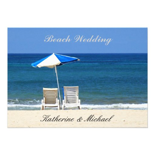 Elegant Beach Wedding Invitation Chairs Personalized