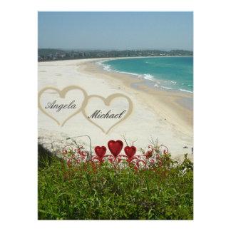 Elegant Beach Wedding Invitation Red Hearts Invitations