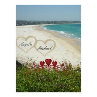 "Elegant Beach Wedding Invitation Red Hearts 6.5"" X 8.75"" Invitation Card"