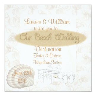 "ELEGANT BEACH Wedding Invitations Destinations 5.25"" Square Invitation Card"