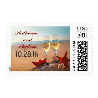 elegant beach wedding postage stamps