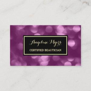 Elegant Beautician Glamorous Purple Luxe Bokeh Business Card