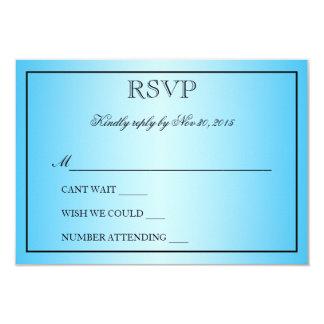 "Elegant Beautiful Aqua Blue Metallic Wedding RSVP 3.5"" X 5"" Invitation Card"