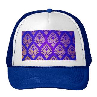 Elegant,beautiful,gold,indigo,damask,oriental,chic Hat