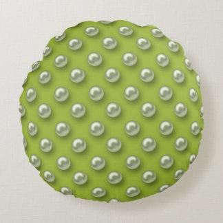Elegant Beautiful Green Pearls Round Pillow