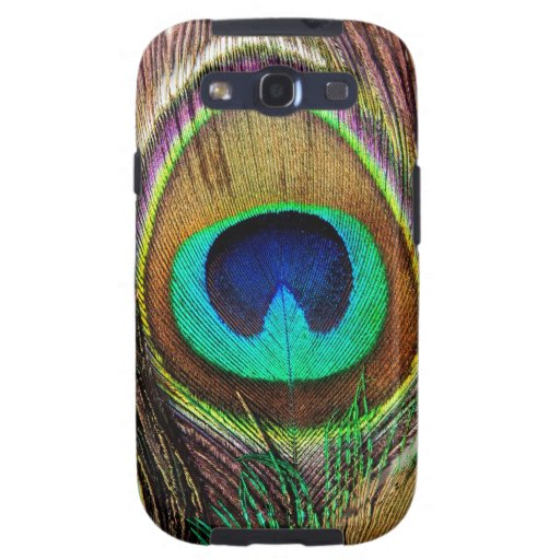 Elegant Beautiful Jewel Colored Peacock Feathers Samsung Galaxy SIII Cover