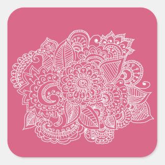 Elegant Beautiful Paisley Doodle Square Sticker