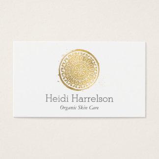 Elegant Beauty Boho Chic Faux Gold Mandala Logo Business Card