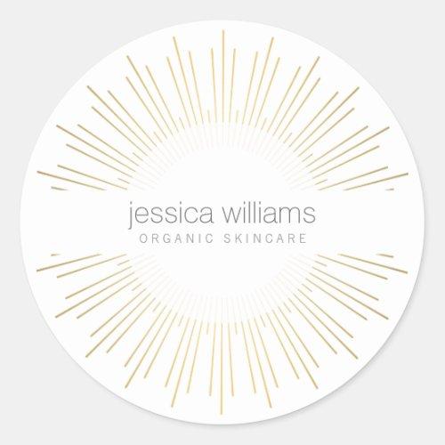 Elegant Beauty Gold Sunburst Classic Round Sticker