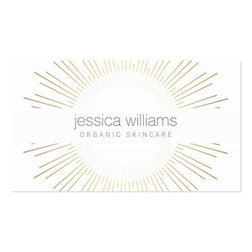 Elegant Beauty Gold Sunburst Cosmetologist, Salon Business Card Template