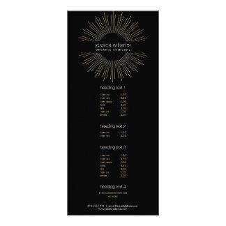Elegant Beauty Gold Sunburst on Black Rack Card