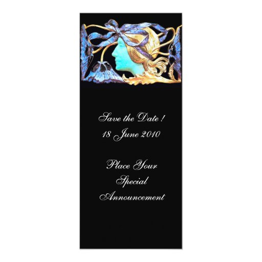 """ELEGANT BEAUTY / LADY WITH BLUE BOW AND FLOWERS 4"""" X 9.25"""" INVITATION CARD"""