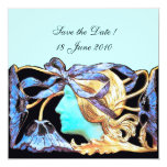 """ELEGANT BEAUTY / LADY WITH BLUE BOW AND FLOWERS 5.25"""" SQUARE INVITATION CARD"""