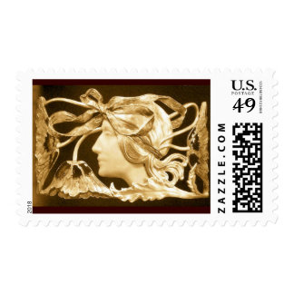 ELEGANT BEAUTY / LADY WITH BOW AND FLOWERS ,Brown Postage
