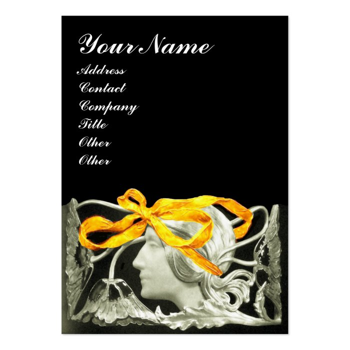 ELEGANT BEAUTY /LADY WITH GOLD YELLOW  BOW.FLOWERS LARGE BUSINESS CARD