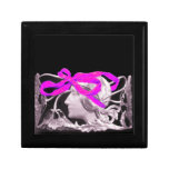 ELEGANT BEAUTY / LADY WITH PINK BOW AND FLOWERS JEWELRY BOXES