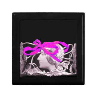 ELEGANT BEAUTY / LADY WITH PINK BOW AND FLOWERS KEEPSAKE BOX