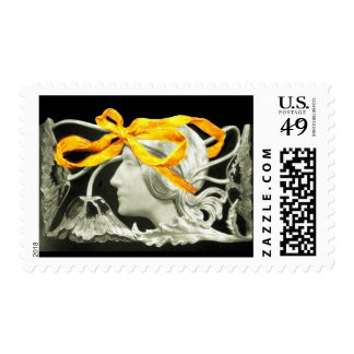 ELEGANT BEAUTY / LADY WITH YELLOW  BOW AND FLOWERS POSTAGE