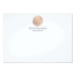 Elegant Beauty Mandala Logo Rose Gold Flat Note Card
