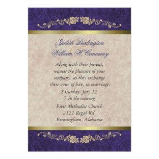 Elegant Beige and Purple Wedding Invitation