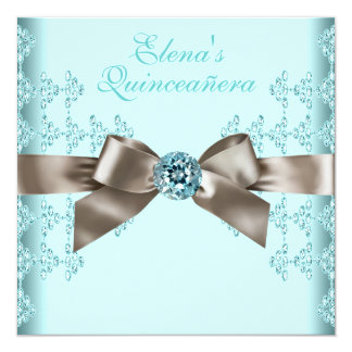 Elegant Beige and Teal Blue Quinceanera Announcements