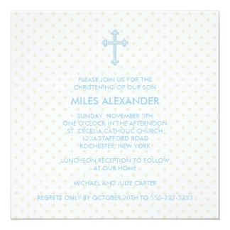 Elegant Beige Blue Cross Boys Christening Card