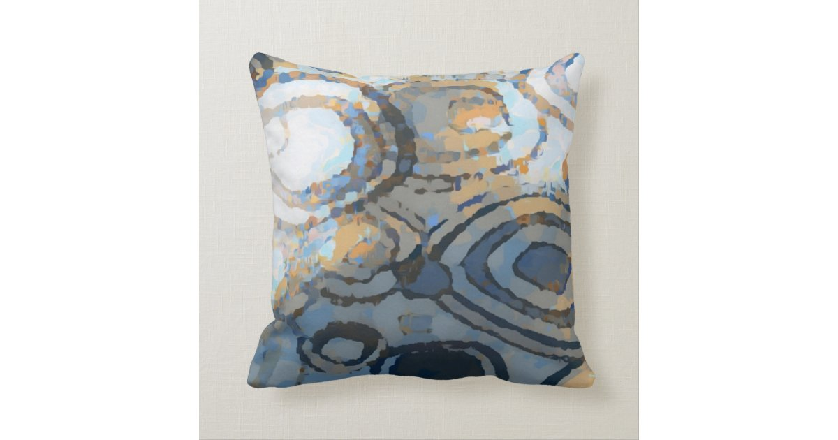 Elegant Beige Brown Gray Blue Squares Pattern Throw Pillow
