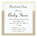 Elegant Beige Burlap Bachelorette Party Invitation