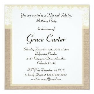 Elegant Beige Burlap Lace Birthday Invitation