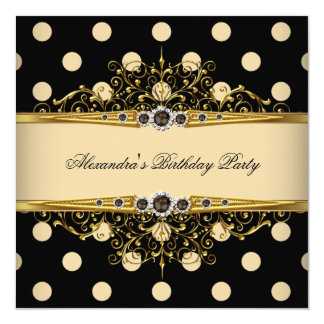 Elegant Beige Cream Gold Black Polka Birthday 2 5.25x5.25 Square Paper Invitation Card