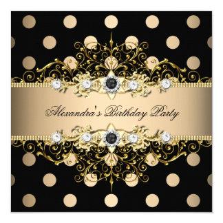 Elegant Beige Cream Gold Black Polka Birthday Invitation