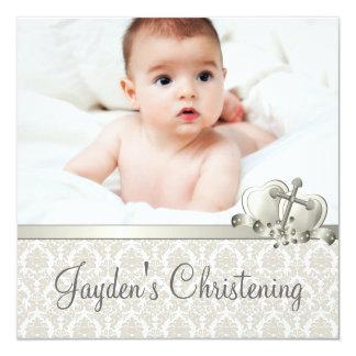 Elegant Beige Damask Boys Photo Christening Card