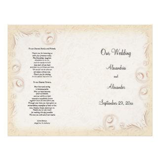 Elegant Beige Scrollwork Wedding Program