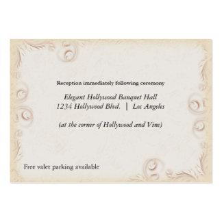 Elegant Beige Scrollwork Wedding Reception Card Large Business Cards (Pack Of 100)