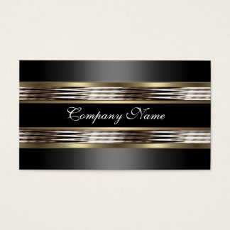 Elegant Beige Silver Chrome Metal Black Business Card