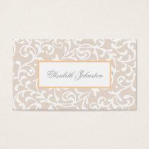 Elegant Beige Swirls Damask Feminine Floral Business Card