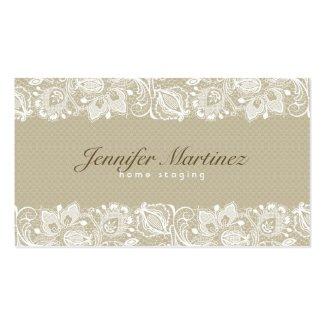 Elegant Beige & White Vintage Floral Lace