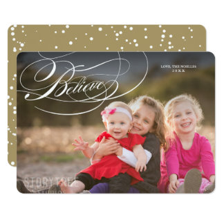 Elegant Believe Religious Christmas Photo Card