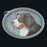 """Elegant Berner Oval Belt Buckle<br><div class=""""desc"""">Show your love for your special dog with this original elegant design of a Bernese Mountain Dog amid flourishes and decorative elements. Lovely gift for Berner-loving family and friends.</div>"""