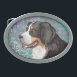 "Elegant Berner Oval Belt Buckle<br><div class=""desc"">Show your love for your special dog with this original elegant design of a Bernese Mountain Dog amid flourishes and decorative elements. Lovely gift for Berner-loving family and friends.</div>"
